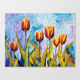 Watercolor Tulips on Wrinkled Paper Canvas Print