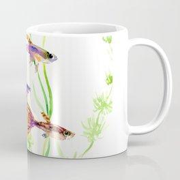 Guppy Fish colorful fish artwork, blue orange Coffee Mug