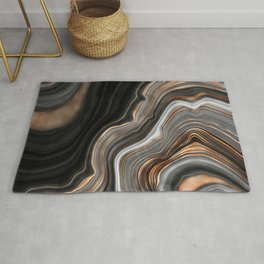 Elegant black marble with gold and copper veins Rug