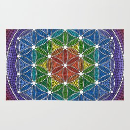 Rainbow Happy Flower of Life Rug