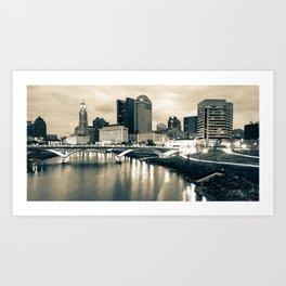 Columbus Ohio and Buckeye City Skyline Panorama - Sepia Edition Art Print