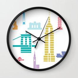 New York Skyline White Wall Clock