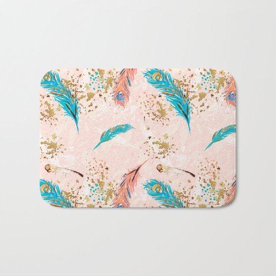 Feather peacock peach mint #5 Bath Mat