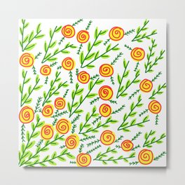 Yellow Roses Green Leaves Floral Pattern Metal Print