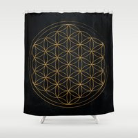 flower of life Shower Curtains featuring Flower of life illustration by Lewys Williams