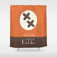 charlie chaplin Shower Curtains featuring The Great Dictator - Charlie Chaplin Movie Poster by Stefanoreves