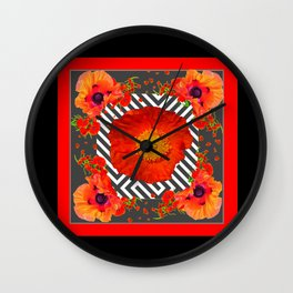 CLASSIC YELLOW-RED POPPIES GARDEN BLACK ART Wall Clock