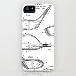 Golf Driver Patent - Golf Art - Black And White iPhone Case