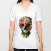 fashion illustration V-neck T-shirts featuring SKULL 2 by Ali GULEC