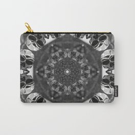Metal skull kaleidoscope in black and white Carry-All Pouch