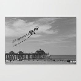 Flying Kites At The Huntington Beach Pier Canvas Print