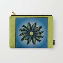 Blue Stitched Flower Carry-All Pouch