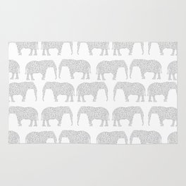 Geometric Elephant grey monochromatic minimal gray and white kids children pattern print  Rug