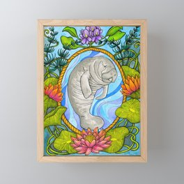 Manatee and Water Lilies Framed Mini Art Print