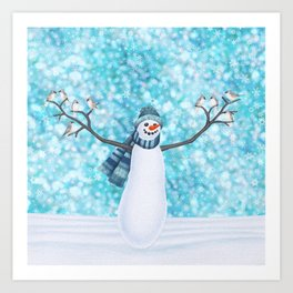 snowman and tufted titmouse flock Art Print
