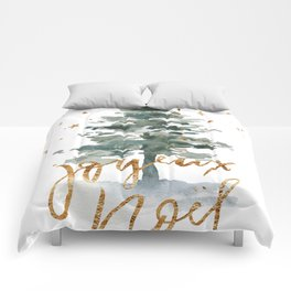 Christmas Tree Watercolors Noel Gold Typography Comforters