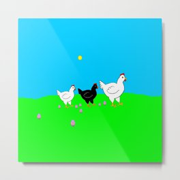 Hens and eggs Metal Print