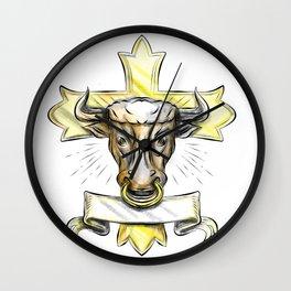Bullock Head Christian Cross Wall Clock