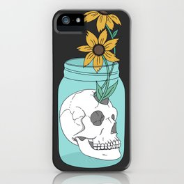 Skull in Jar with Flowers iPhone Case