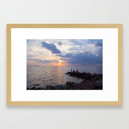 Sunset Fishing Framed Art Print