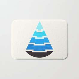 Cerulean Blue Gouache Painting Aztec Minimalist Abstract Geometric Pattern Pyramid Bath Mat