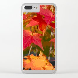 Fiery Autumn Maple Leaves 4966 Clear iPhone Case