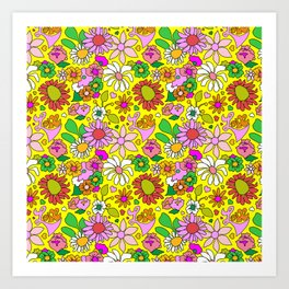 60's Lovers Floral in Sunshine Yellow Art Print