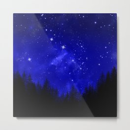 Blue Galaxy Forest Night Sky Metal Print