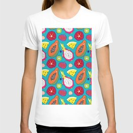 Seedy Fruits in Teal Blue T-shirt