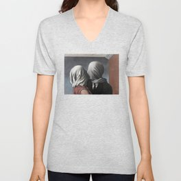 The Lovers II (Les Amants) 1928, Artwork Rene Magritte For Prints, Posters, Shirts, Bags Men Women K Unisex V-Neck