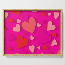 Decorative paper heart 3 Serving Tray