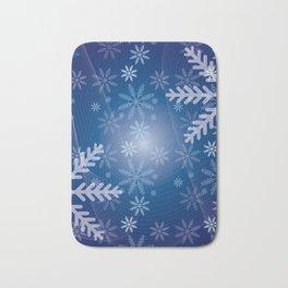 Blue Snowflakes Christmas Bath Mat