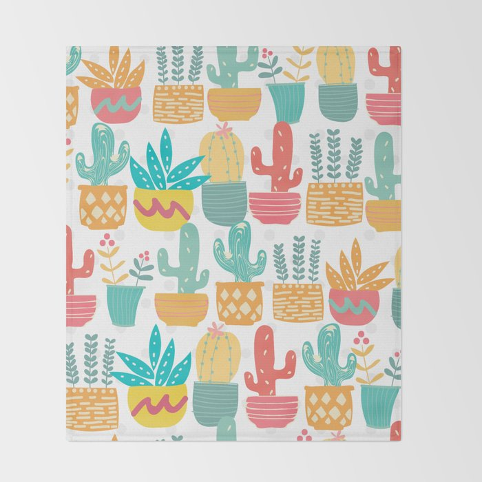 Modern Cactus Throw Blanket