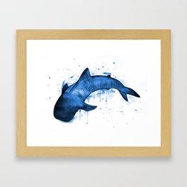 Whale Shark, blue Framed Art Print