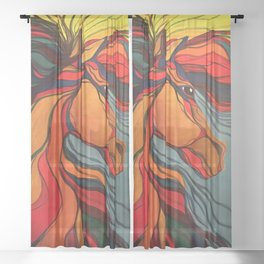 Wild Horse Breaking Free Southwestern Style Sheer Curtain