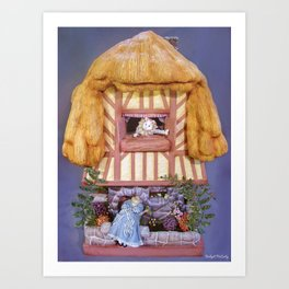 White rabbits house Art Print