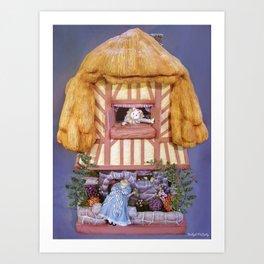 White rabbits house Art Print