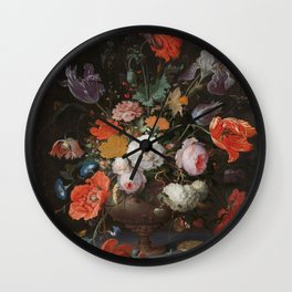 Abraham Mignon - Still life with flowers and a watch - 1660/1679 Wall Clock