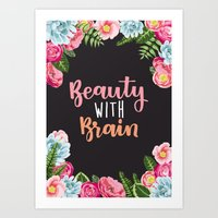 Beauty With Brain - Hand drawn & Hand lettering Art Print