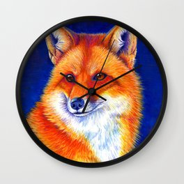 Colorful Red Fox Portrait Wall Clock