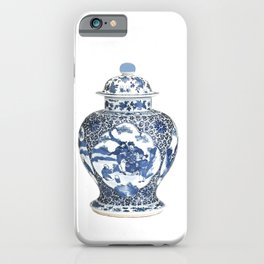 Blue & White Chinoiserie Porcelain Ginger Jar with Country Scene iPhone Case
