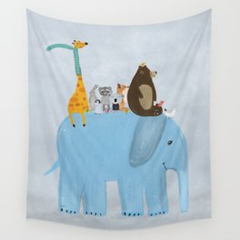 the big blue elephant Wall Tapestry