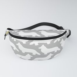 Grey and White Welsh Corgi Silhouettes Pattern Fanny Pack