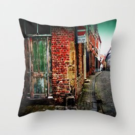 Medieval Belgium Architecture Photography Red Brick Cobbled Streets Throw Pillow