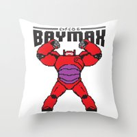 8bit Throw Pillows featuring BAYMAX (8BIT) by Akiwa