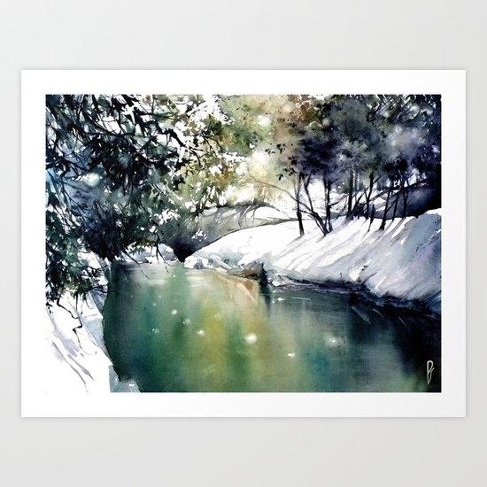 Running water down below in the dark, frozen forest Art Print