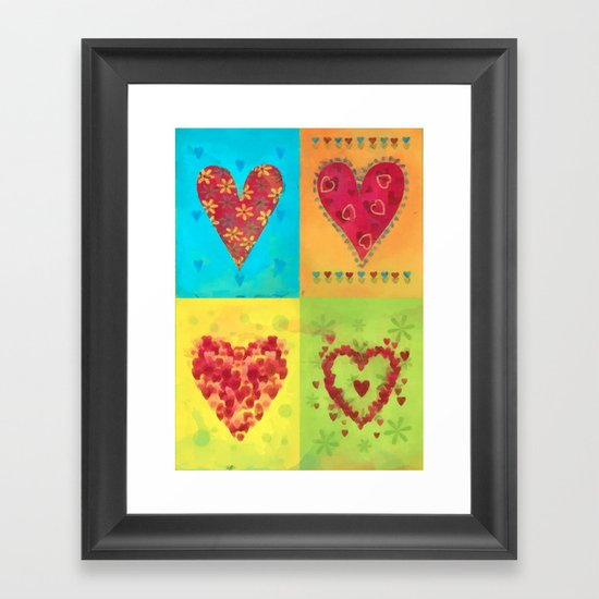 Colorful hearts pattern Framed Art Print