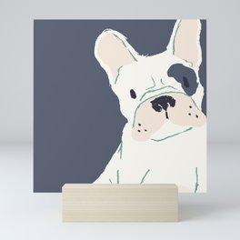 Cute French Bulldog (White w/ Spot) Mini Art Print
