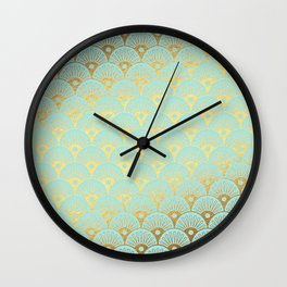 Art Deco Mermaid Scales Pattern on aqua turquoise with Gold foil effect Wall Clock