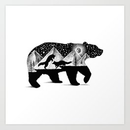 THE BEAR AND THE FOXES Art Print
